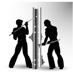 silhouettes of two workers assemblers vector image vector image