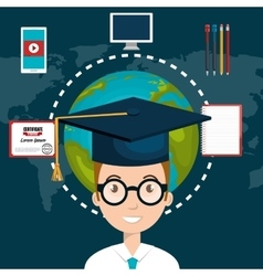 Student elearning education icon vector