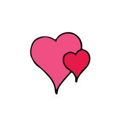two hearts cartoon icon vector image vector image
