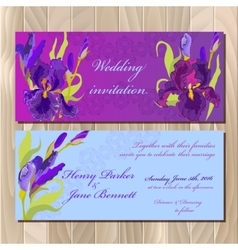 Wedding invitation card with purple iris flower vector image vector image