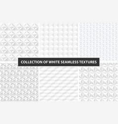 white geometric textures - seamless set vector image