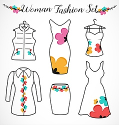Woman fashion clothes silhouette vector