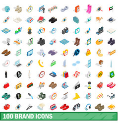 100 brand icons set isometric 3d style vector image vector image