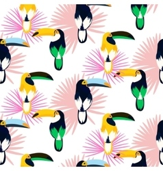 Tropic light pink plant leaves and toucan bird vector