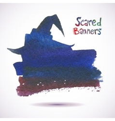 Halloween watercolor banner witch hat scary vector