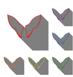 Wings sign  set of red orange vector