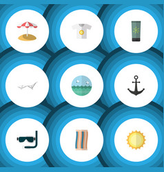 Flat icon summer set of ship hook sunshine deck vector