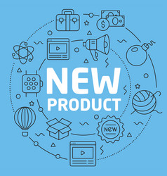 blue line flat circle new product vector image