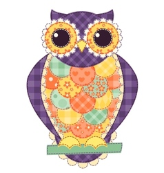 Colored isolated patchwork owl vector image
