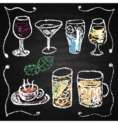 Hand drawn cocktail menu elements vector