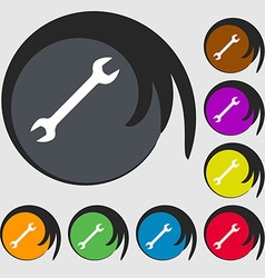 Wrench icon sign symbol on eight colored buttons vector