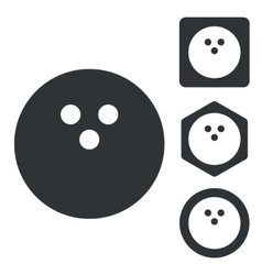 Bowling icon set monochrome vector