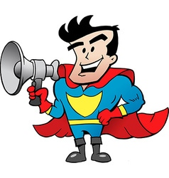 Cartoon of an super hero talk in megaphone vector