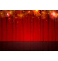 Background with red curtain and shiny vector