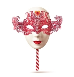 White realistic carnival mask with red lacy top vector