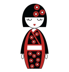 Japanese doll with kimono with flowers vector image
