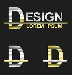 Metallic business font design - letter d vector