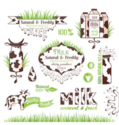Milk labels stickers and banners vector