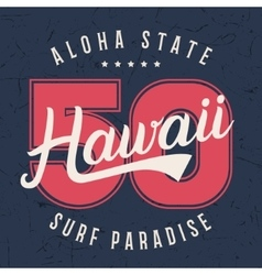 Hawaii lettering typography t-shirt graphics vector