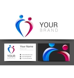 Business card for your business people logo blue vector