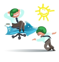 Businessman run to goal time and way success vector