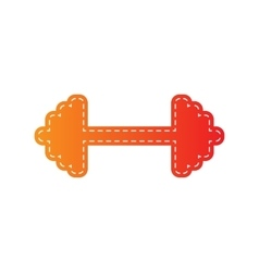 Dumbbell weights sign orange applique isolated vector