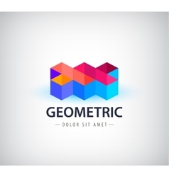 abstract colorful geometric logo 3d vector image vector image