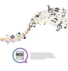 abstract colorful Music notes and lines On vector image