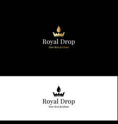 Aromatherapy and perfume logo with crown and drop vector