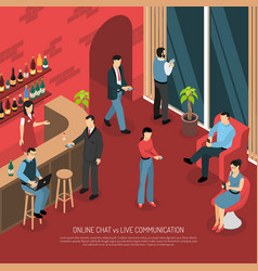 Bar online chatting isometric poster vector