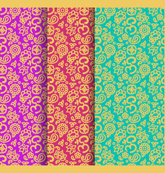 Buddhism paisley seamless pattern set vector