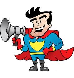 Cartoon of an super hero talk in megaphone vector