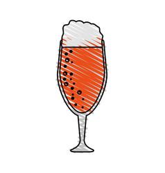 Color drawing pencil cartoon beer in cup glass vector