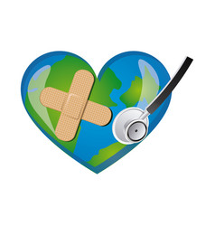 Earth planet heart with stethoscope and band aid vector