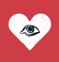Eye symbol inside the heart romance symbol vector