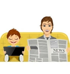 father reading the latest news vector image