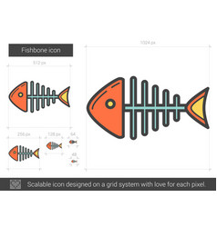Fishbone line icon vector