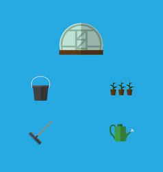 Flat icon farm set of harrow hothouse pail and vector
