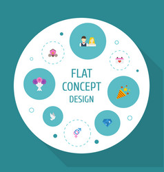 Flat icons couple posy brilliant and other vector
