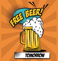 Free beer pop art vector