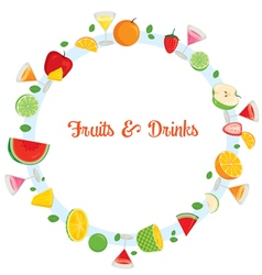 Fruits and drinks on circle frame vector