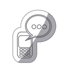 grayscale silhouette sticker of cell phone with vector image