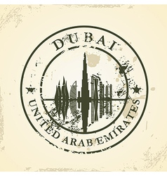 Grunge rubber stamp with Dubai UAE vector image