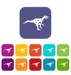 ornithopod dinosaur icons set flat vector image vector image