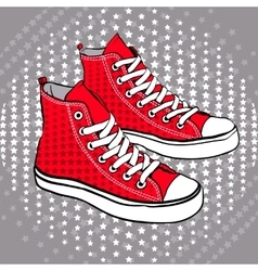 Red sports shoes decorated with stars vector