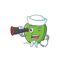 Sailor green apple character cartoon with vector