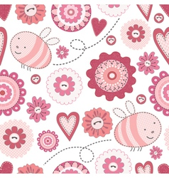 seamless cute bee and flowers vector image vector image