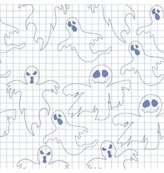 Seamless pattern with ghosts in notebook Print vector image vector image