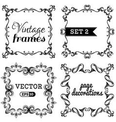 Set 2 retro vintage frames vector