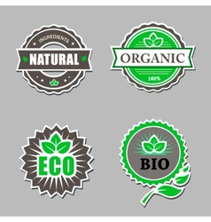 Set of organic labels - stickers for natural vector image
